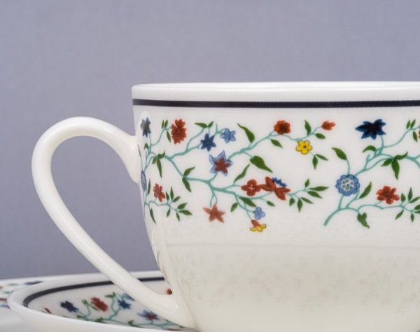 Smith College Maytime China pattern teacup and saucer - close-up