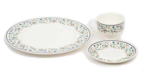 Smith College Maytime China pattern teacup, saucer and plate